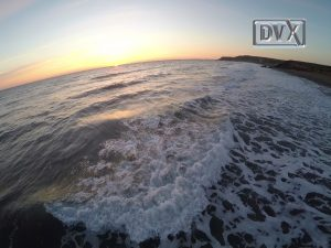 Aerial drone filming of sunset over Widemouth Bay