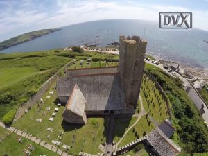 Wembury Church filmed by drone